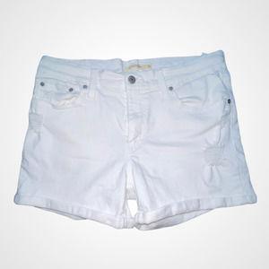 Levis White Mid Rise White Denim Shorts 31